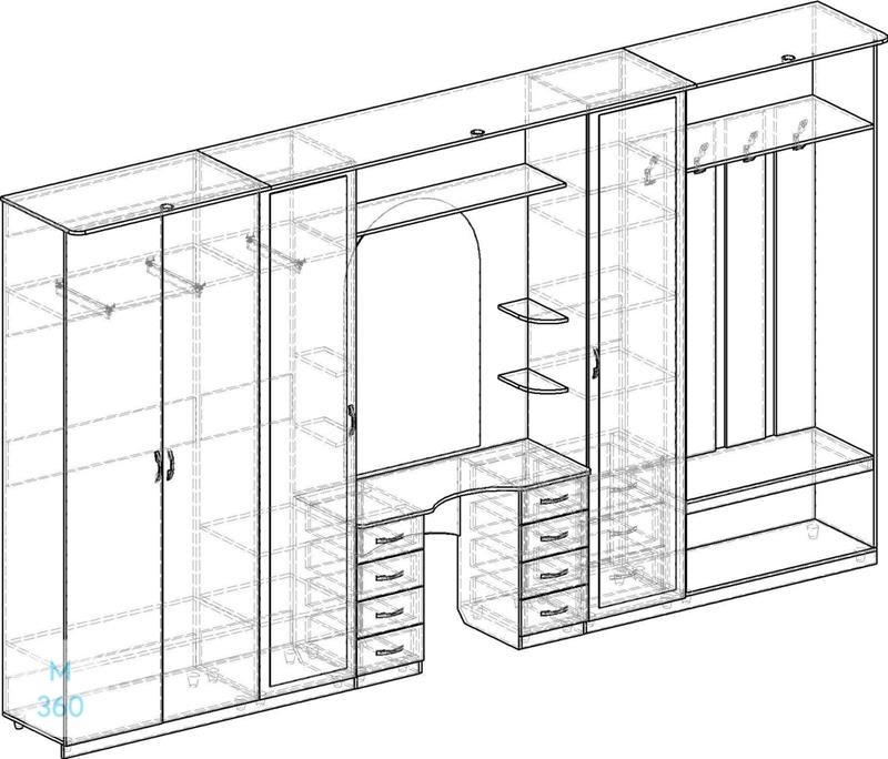 Распашной шкаф с зеркалом на заказ Арт 11