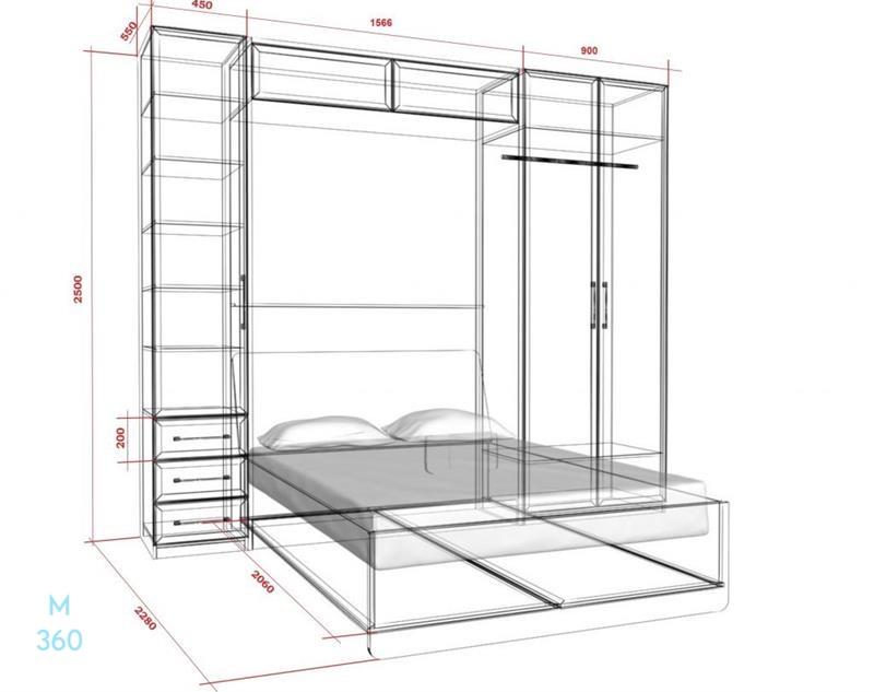 Шкаф кровать на заказ Арт 4